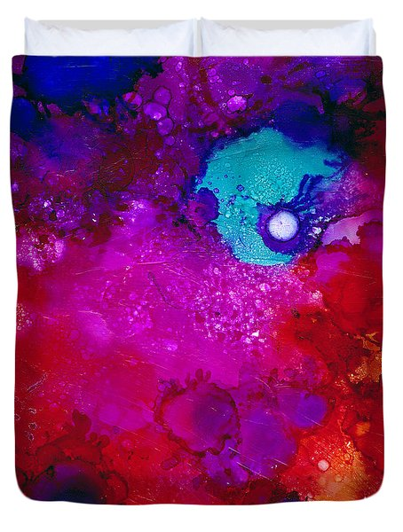 Duvet Cover featuring the painting Moonrise Over Mars by Angela Treat Lyon