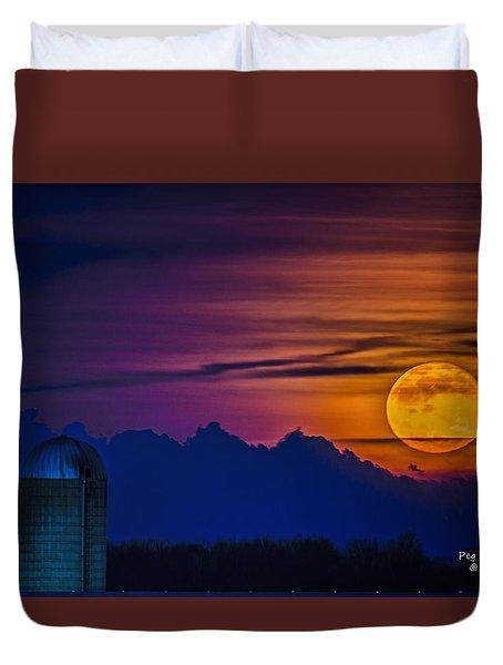 Moonrise Over Michigan Farm Duvet Cover