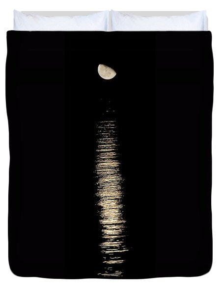 Moonrise Over Monroe Harbor Chicago 0158 Duvet Cover
