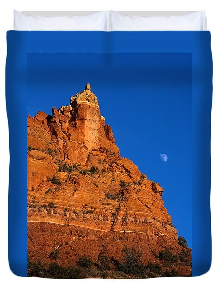 Moonrise Over Red Rock Duvet Cover by Mike  Dawson