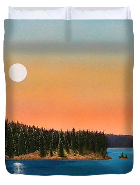 Moonrise Over The Lake Duvet Cover