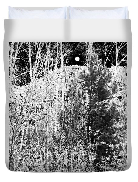 Duvet Cover featuring the digital art Moonrise Over The Mountain by Will Borden