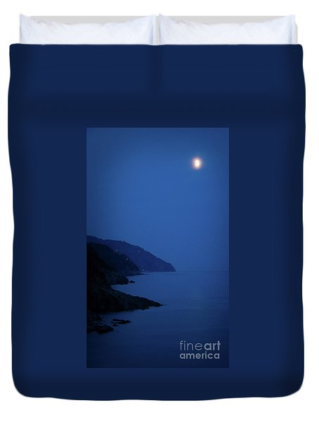 Moonrise Over Vernazza Duvet Cover by Doug Sturgess