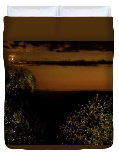 Duvet Cover featuring the photograph Moonset At Bay Harbor by Onyonet  Photo Studios