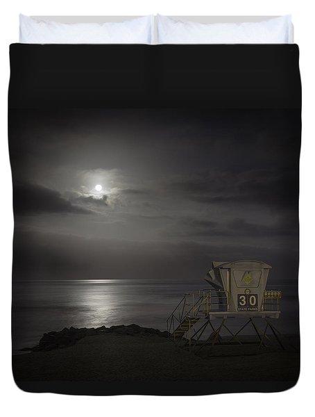 Moonset At Carlsbad Duvet Cover