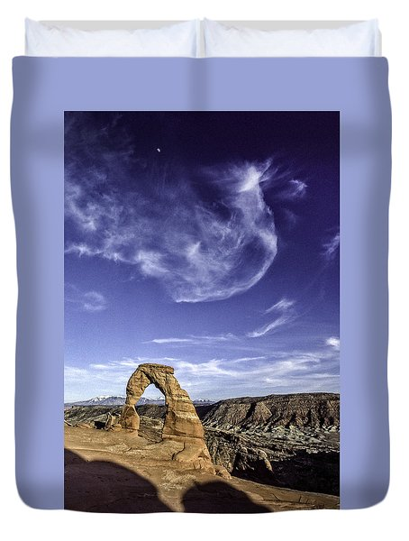 Moonset Delicate Arch Duvet Cover