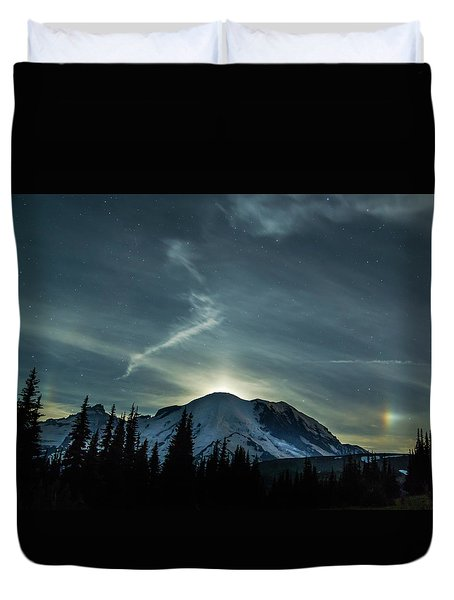 Duvet Cover featuring the photograph Moonset On Mt. Rainier by Angie Vogel