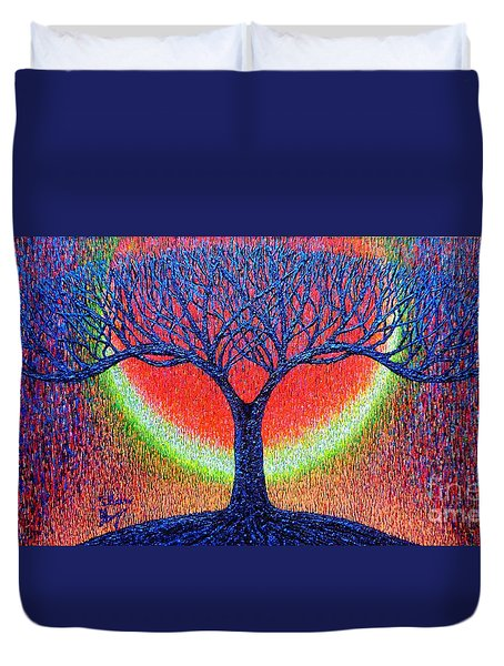Duvet Cover featuring the painting moonshine-2/God-is light/ by Viktor Lazarev