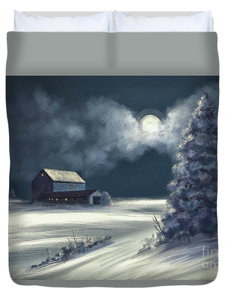Duvet Cover featuring the digital art Moonshine On The Snow by Lois Bryan