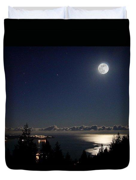 Moonshine Over English Bay Duvet Cover