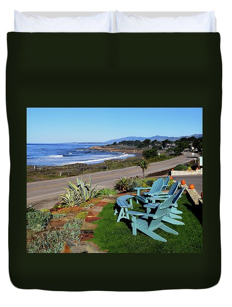 Duvet Cover featuring the photograph Moonstone Beach Seat With A View by Barbara Snyder