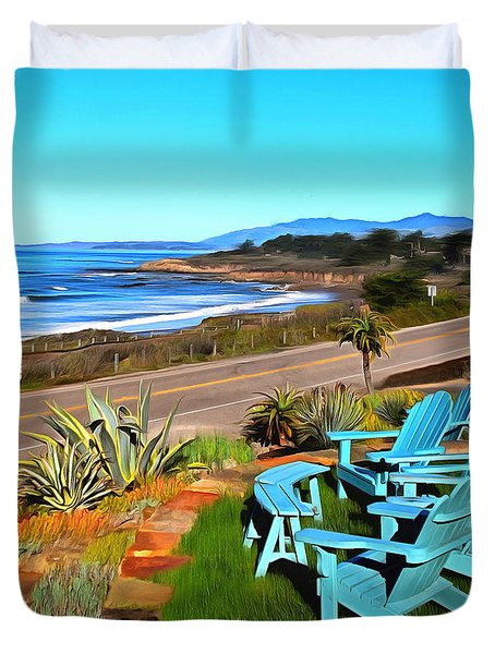 Duvet Cover featuring the photograph Moonstone Beach Seat With A View Digital Painting by Barbara Snyder