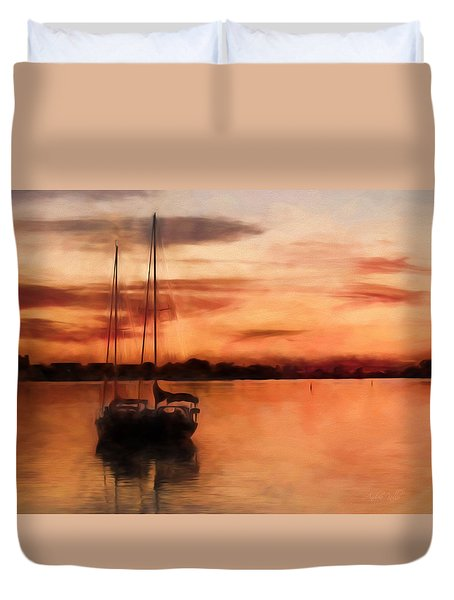Moored For The Night Duvet Cover by Andrea Kollo