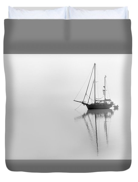 Moored On A Foggy Day Duvet Cover