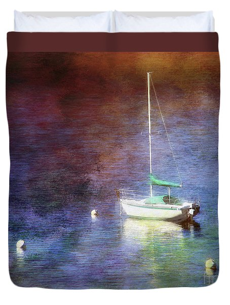 Moored Sailboat Duvet Cover