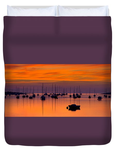 Moorings, Conwy Estuary Duvet Cover