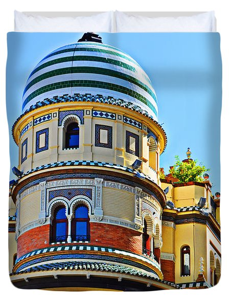 Moorish Tower With Hdr Processing Duvet Cover by Mary Machare