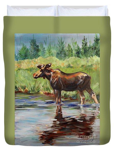 Moose At Henry's Fork Duvet Cover