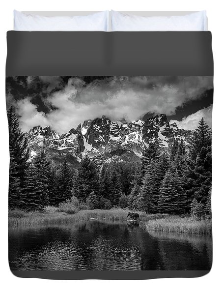 Duvet Cover featuring the photograph Moose At Schwabacher's Landing by Gary Lengyel