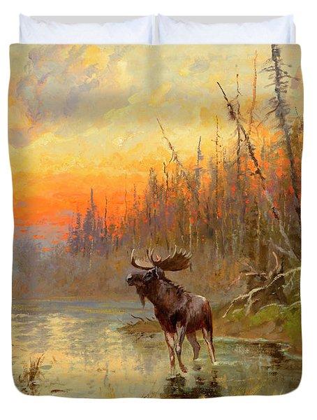 Moose At Sunset Duvet Cover
