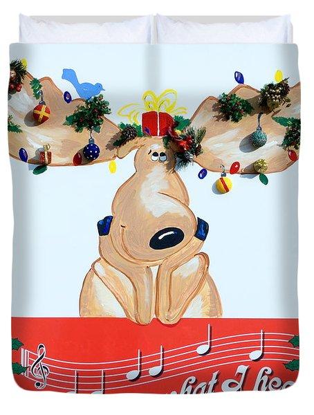Moose Christmas Greeting Duvet Cover