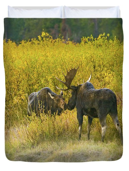 Moose Couple Duvet Cover