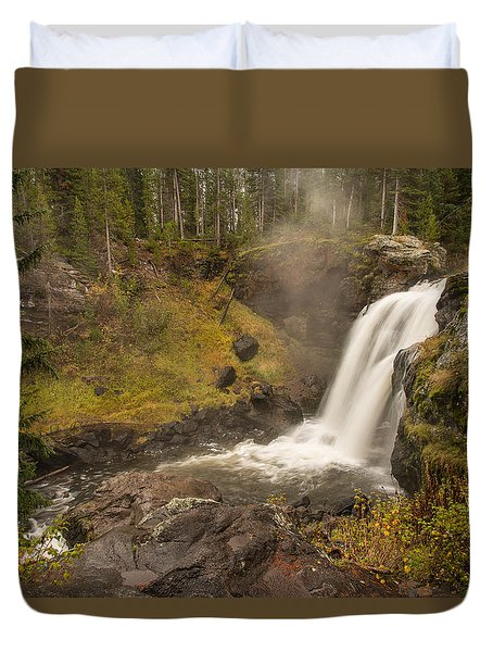 Duvet Cover featuring the photograph Moose Falls by Gary Lengyel