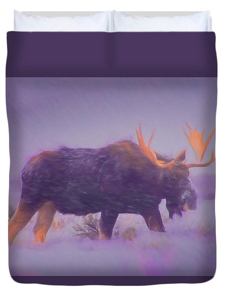 Moose In A Blizzard Duvet Cover