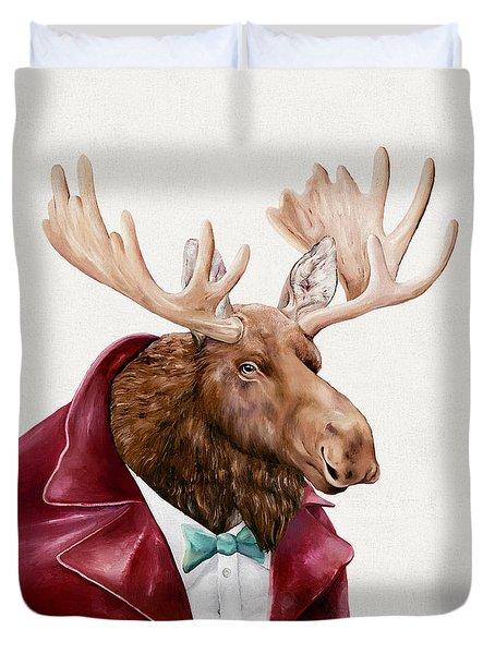 Moose In Maroon Duvet Cover