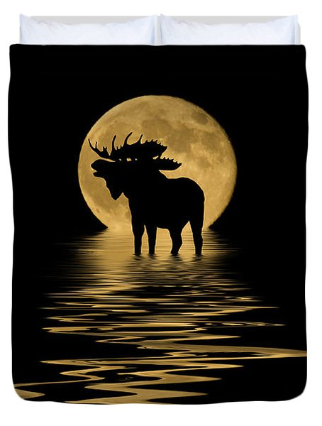 Moose In The Moonlight Duvet Cover