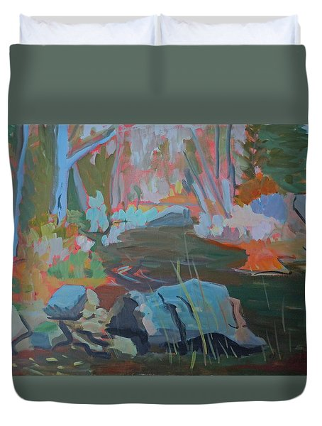 Duvet Cover featuring the painting Moose Lips Brook by Francine Frank