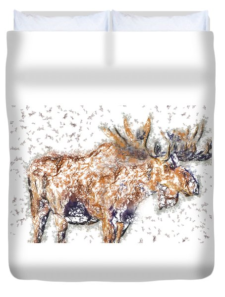 Duvet Cover featuring the digital art Moose-sticks by Elaine Ossipov
