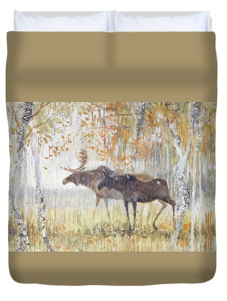 Mooses In The Autumn Woods Duvet Cover