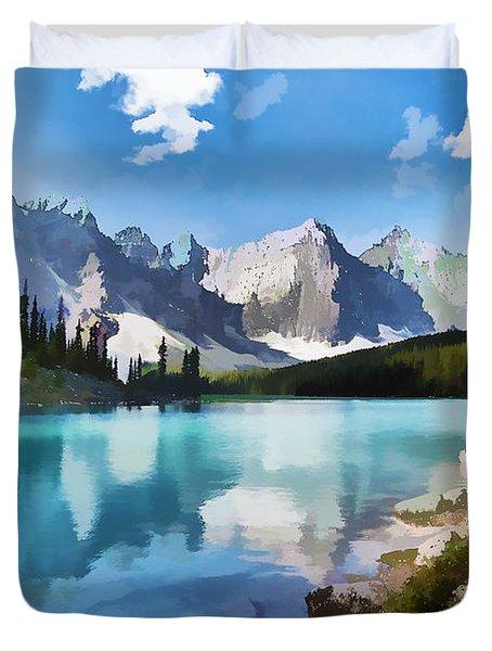 Moraine Lake At Banff National Park Duvet Cover