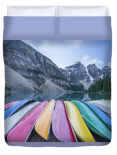 Moraine Lake Colors Duvet Cover by Alpha Wanderlust