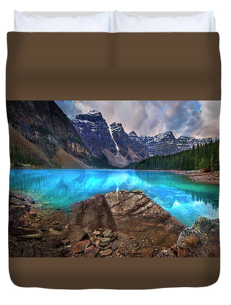 Duvet Cover featuring the photograph Moraine Lake by John Poon