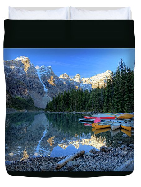 Moraine Lake Sunrise Blue Skies Canoes Duvet Cover