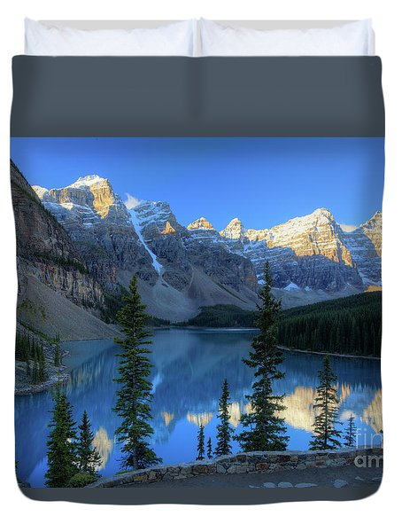 Moraine Lake Sunrise Blue Skies Duvet Cover