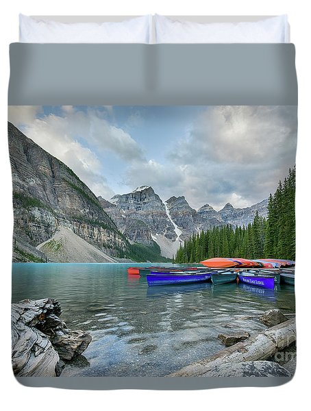 Moraine Logs And Canoes Duvet Cover