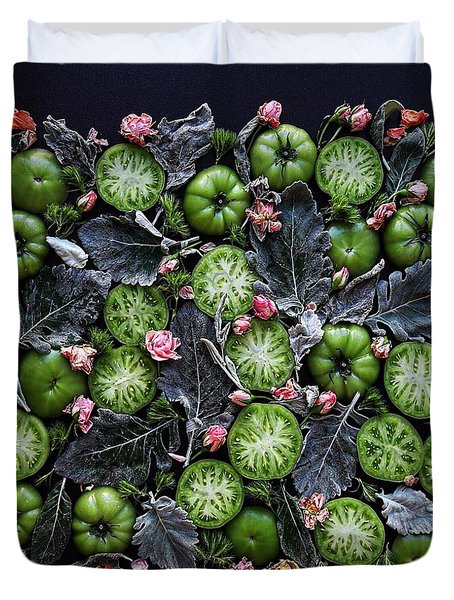 More Green Tomato Art Duvet Cover