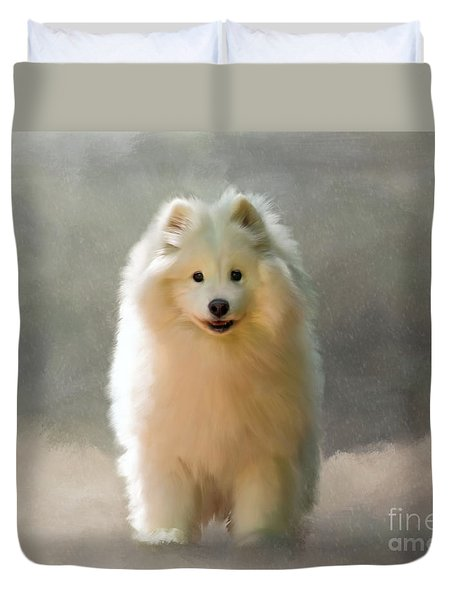 Duvet Cover featuring the digital art More Snow Please by Lois Bryan
