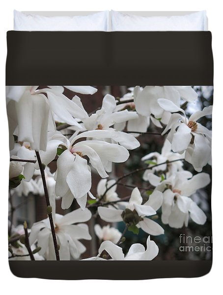 More White Blossoms Duvet Cover