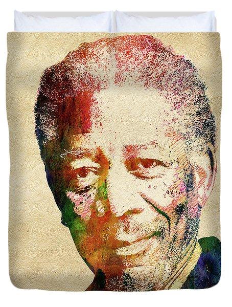 Morgan Freeman Duvet Cover by Mihaela Pater
