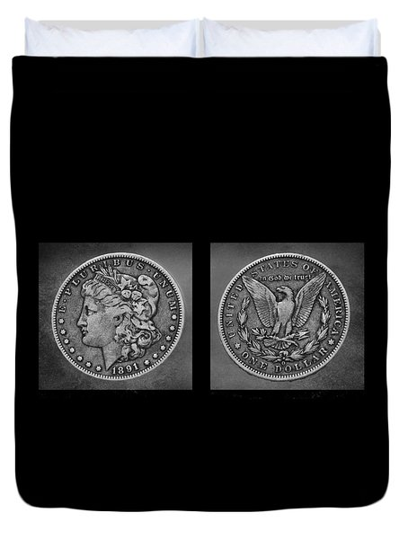 Morgan Silver Dollar--1891 Duvet Cover