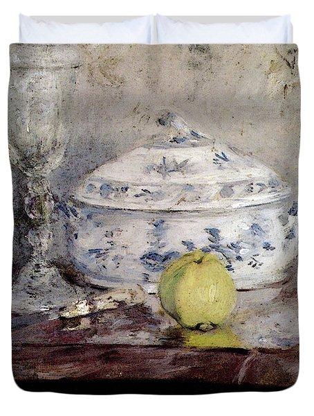 Morisot Berthe Tureen And Apple Duvet Cover by Berthe Morisot