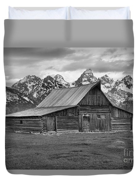 Mormon Homestead Barn Black And White Duvet Cover by Adam Jewell