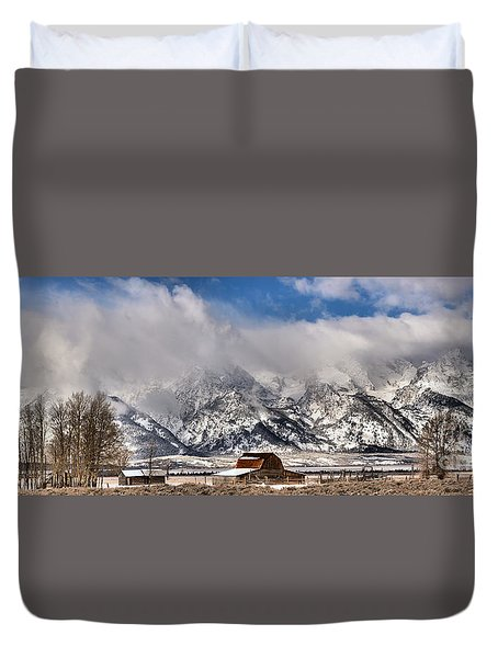 Duvet Cover featuring the photograph Mormon Row Early Winter Panorama by Adam Jewell