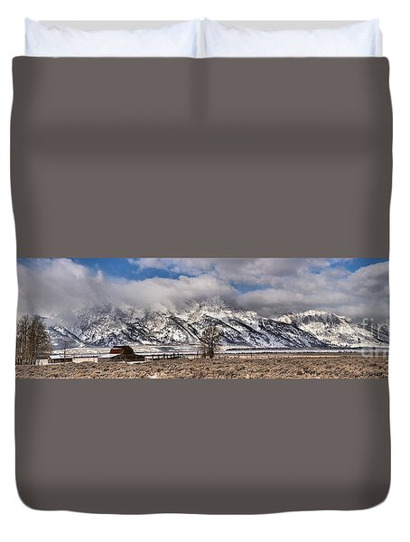 Duvet Cover featuring the photograph Mormon Row Extended Panorama by Adam Jewell