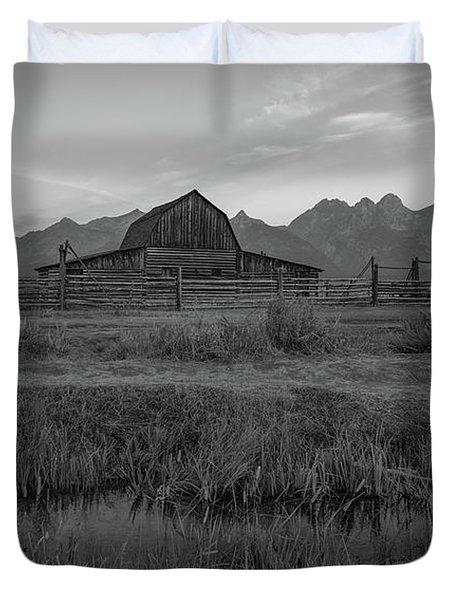 Mormon Row Runoff Sunrise 2 Bw Duvet Cover
