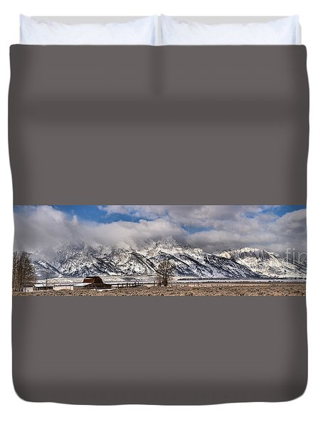 Duvet Cover featuring the photograph Mormon Row Snowy Extended Panorama by Adam Jewell